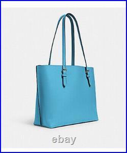 NWT $378 Coach Mollie Large Tote Purse Laptop Bag Aqua Blue Green Leather F/S