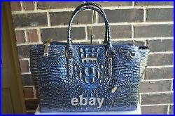 NWT $425 Brahmin Blake Lazuli Melbourne Satchel Work Travel iPad Laptop Bag Blue