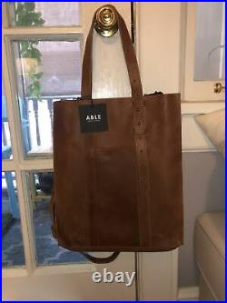 NWT ABLE Local & Global Elsabet Whiskey Leather Tote Bag Hand Made in Ethiopia