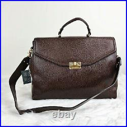 NWT Brahmin Andrea Brown Nepal Pebbled Leather Laptop Briefcase Tote Bag $395
