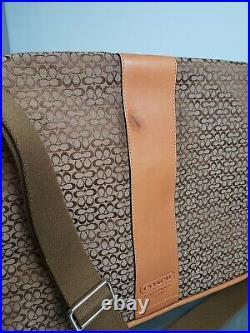 NWT COACH Bag F77004 Khaki Signature Laptop Messenger / Purse w 2 Extras