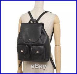 NWT COACH Billie Black Gold Leather Backpack Large Laptop Book Bag Gold F37410