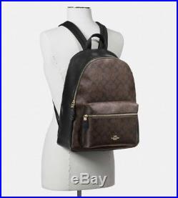 79e080ccff NWT COACH Signature Charlie Leather Backpack Laptop Book Bag Brown ...