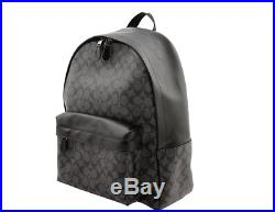 NWT COACH Signature Charlie Leather Backpack Laptop Charles Bag Charcoal F55398