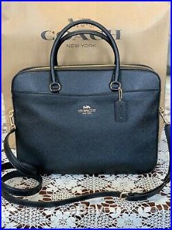 NWT COACH Womans Crossgrain Leather Laptop/Briefcase Crossbody Bag Black/Gold