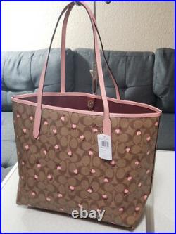 NWT Coach CITY TOTE SIGNATURE HEART FLORAL PRINT shoulder bag satchel laptop