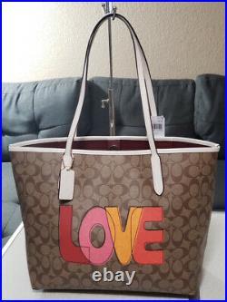 NWT Coach CITY TOTE SIGNATURE Love PRINT shoulder bag satchel laptop