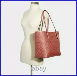 NWT Coach City Tote Signature Canvas Candy Pink laptop shoulder bag handbag
