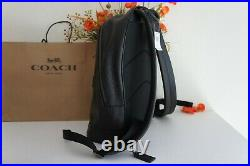 NWT Coach F72510 Mens West Slim backpack Pebble Leather Campus Laptop Black $498