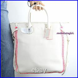 NWT Coach Pebbled Leather Tall Tatum Tote Business Laptop Bag 35156 Neon Pink