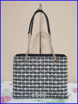 NWT KATE SPADE natalia Chain tote tweed satchel shoulder bag black laptop