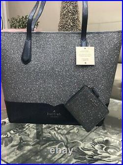 NWT Kate Spade Large Lola Glitter Tote bag Dusk Navy Laptop purse & wallet set