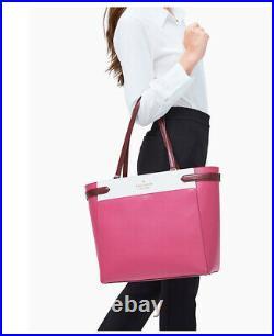 NWT Kate Spade Staci Laptop Tote Colorblock shoulder Bag pink multi NWT