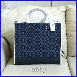 NWT LG Coach Signature Jacquard Dempsey Tote 40 Bag C2827 Laptop Denim Multi