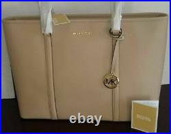 NWT MICHAEL KORS SADY LARGE Top Zip TOTE Bag Leather in Bisque