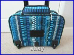 NWT Vera Bradley On a Roll Rolling Trolley Laptop Work Travel Bag Cha Cha Blue