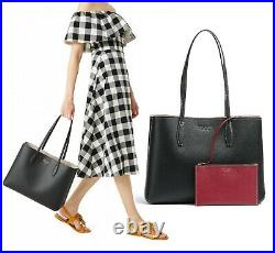 NWTKate Spade All Day Large Tote Bag Black Leather + Red Pouch Fits 13 LAPTOP