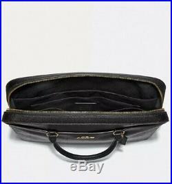 New F39022 COACH LAPTOP BAG WOMAN'S LEATHER CROSSBODY Black/Gold NWT