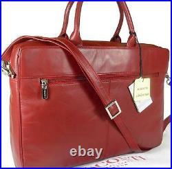 New Ladies Visconti Dark Red Leather Laptop Briefcase Bag Free Uk P&p