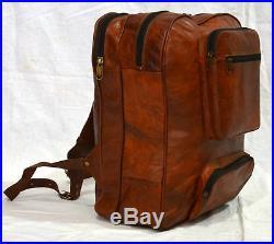 New Men's Women's Goat Leather Backpack Laptop Satchel Travel School Book Bags 5