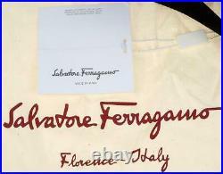 New Salvatore Ferragamo Black Techno Flap Gancio Logo Messenger Laptop Bag