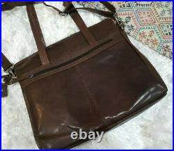 New Spikes and Sparrow Womens Leather Crossbody Laptop Bag Brown