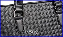 New Women Black Weaved Leather iPad Laptop Tablet Cross Body Satchel Bag Handbag