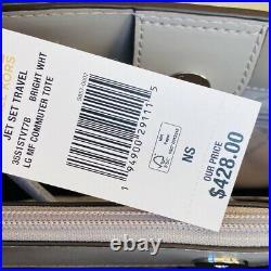 Nwt Michael Kors Jet Set Travel Lg Signature Laptop Tote Bag White/wallet Option