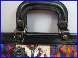 P3 Large 16 Turkish Kilim Carpet Rug wool Tapestry Leather Boho Attache bag Vtg