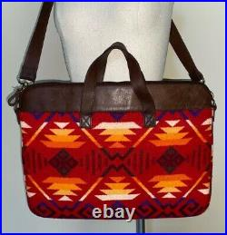 PENDLETON Red Wool blanket & leather top zip slim laptop shoulder bag EUC