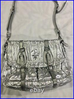 PRADA Bag Silver Ruched Large Leather Work Study Shoulder Bag