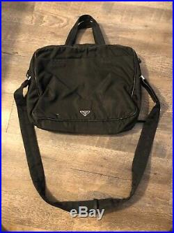 PRADA Black Nylon & Leather Business Bag Laptop Bag Mens Or Womens Bag