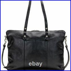 Patricia Nash Heritage Collection Triora Leather Laptop Tote Bag Black