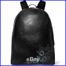 Paul Smith Black Laptop Leather Backpack Floral-Embroidered Stripe-Trim $795