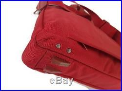 Piquadro men woman lap top business/ document red leather canvas bag