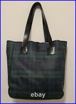 Polo Ralph Lauren Tartan Plaid Tote Bag Green Blackwatch Laptop Beach
