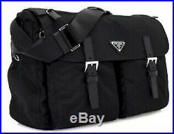 Prada Messenger Laptop Shoulder Bag Black Tessuto Nylon Authentic Mens Womens