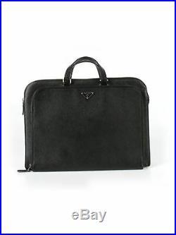 Prada Women Black Leather Laptop Bag One Size