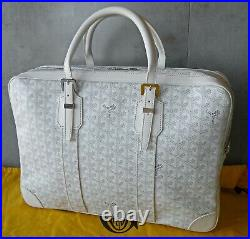 Pristine Goyard Sac Ambassade MM Blanc Laptop Briefcase Travel Bag
