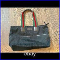 RARE Black GG Red Green Signiture Stripe Gucci GG SUPREME DIAPER BAG