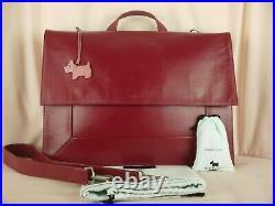 Radley Border Large Laptop Bag Work Bag Cherry Red Leather Used
