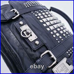 Rare $598 Frye Cameron Black Studded Satchel Messenger Crossbody Laptop Bag