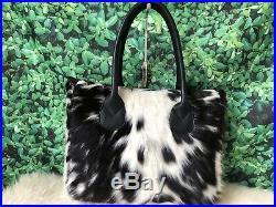 Real Cowhide Tote Purse Handbag Leather Shoulder Laptop Bag Womens Black Medium