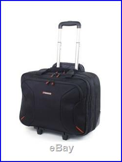 Rolling Briefcase Laptop Women Wheels Roller Black Bag Tablet Sleeve Carry 17'