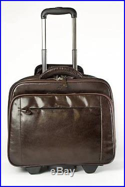 S Babila Genuine Leather Laptop Cabin Size Trolley Briefcase Flight Travel Bag