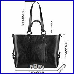 S-ZONE Women's 3-Way Genuine Leather Work Tote Laptop Shoulder Handbag (Black)