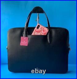SALE$328 Kate Spade Adel Laptop Bag Slim Briefcase Bag Black Leather- fits 15