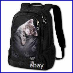 SPIRAL DIRECT POCKET KITTEN BACK PACK WITH LAPTOP POCKET BAG/Unisex/Cat
