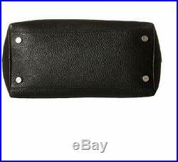 Skagen Women's Anja Pebble Leather Top Zip Large Black Laptop Shoulder Bag Tote