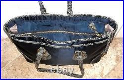 TUMI BELLEVIEW COTTAGE NavyBlue Nylon Snake Leather Trim Commute Laptop Tote Bag